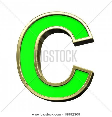 One letter from light green with gold shiny frame alphabet set, isolated on white. Computer generated 3D photo rendering.