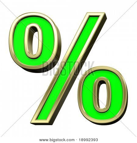 Percent sign from light green with gold shiny frame alphabet set, isolated on white. Computer generated 3D photo rendering.