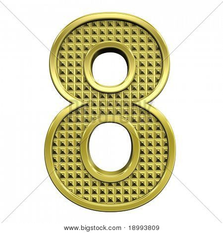 One digit from knurled gold alphabet set, isolated on white. Computer generated 3D photo rendering.