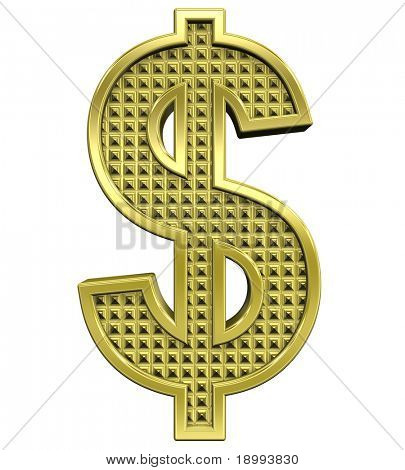 Dollar sign from knurled gold alphabet set, isolated on white. Computer generated 3D photo rendering.