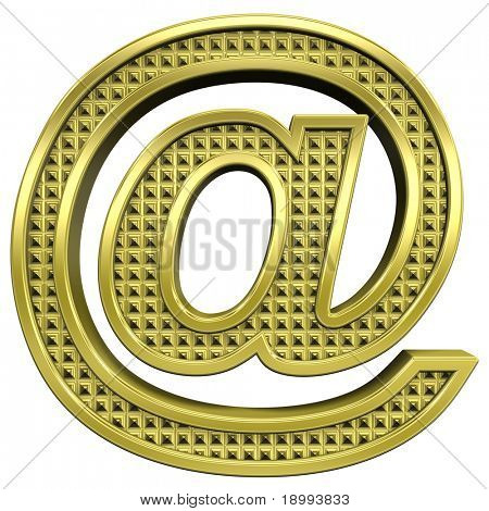 Mail sign from knurled gold alphabet set, isolated on white. Computer generated 3D photo rendering.