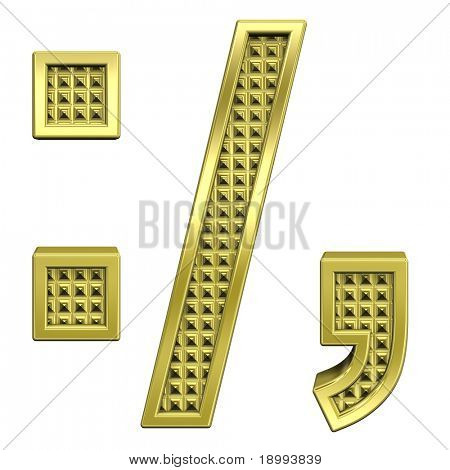 Colon, semicolon, period, comma from knurled gold alphabet set, isolated on white. Computer generated 3D photo rendering.