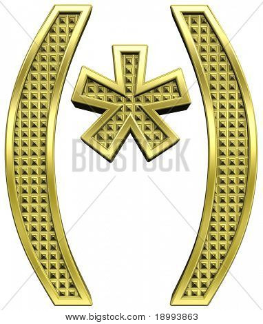 Parenthesis, asterisk from knurled gold alphabet set, isolated on white. Computer generated 3D photo rendering.