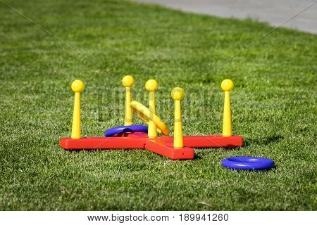 Outdoor ring game often used as an activity in the backyard in the summer