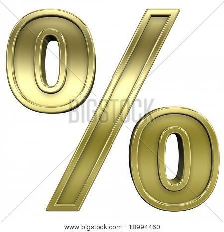 Percent sign from shiny gold with gold frame alphabet set, isolated on white. Computer generated 3D photo rendering.