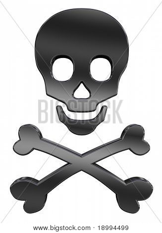 Black skull and crossbones isolated on white. Computer generated 3D photo rendering.