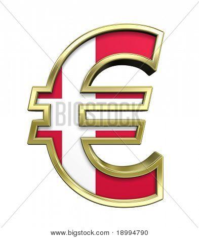 Símbolo del Euro oro con bandera danesa aislado en blanco. Ordenador genera renderizado 3D foto.
