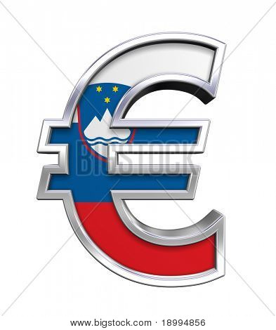Silver Euro sign with Slovenia flag isolated on white. Computer generated 3D photo rendering.