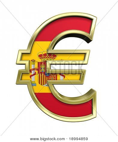 Gold Euro sign with Spain flag isolated on white. Computer generated 3D photo rendering.