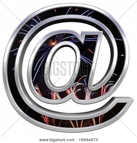 Mail sign from firework with chrome frame alphabet set, isolated on white. Computer generated 3D photo rendering.