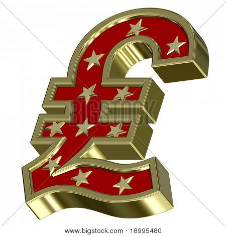 Gold-red Pound sign with stars isolated on white. Computer generated 3D photo rendering.