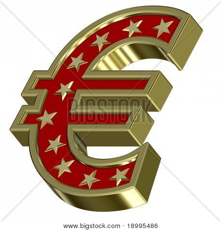 Gold-red Euro sign with stars isolated on white. Computer generated 3D photo rendering.