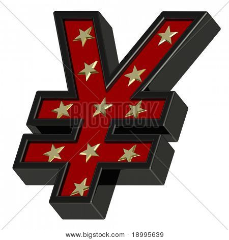 Red-black Yen sign with stars isolated on white. Computer generated 3D photo rendering.
