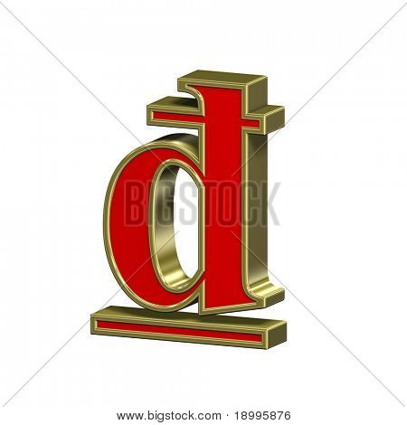 Dong sign from red with gold frame Roman alphabet set, isolated on white. Computer generated 3D photo rendering.