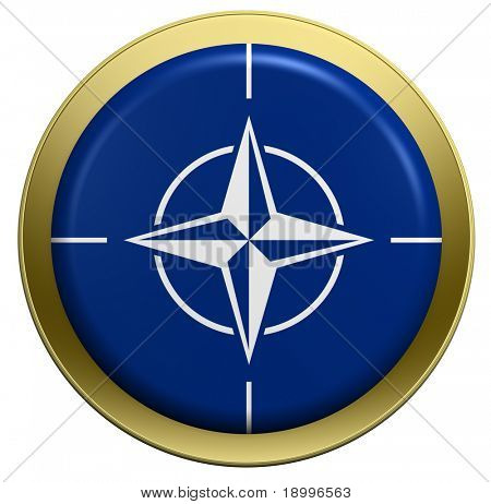 NATO flag on the round button isolated on white. Computer generated 3D photo rendering.