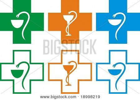 A set of  pharmacy crosses in vector