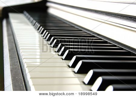 Piano keys side view