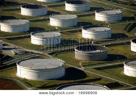 Oil tanks near port from the top