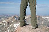 stock photo of beartooth  - Standing on the summit of Granite Peak Montana - JPG