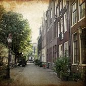 views of old Amsterdam made in artistic retro style