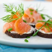 image of canapes  - Canapes with smoked salmon and herbs - JPG
