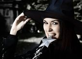 stock photo of she devil  - Witch in the hat - JPG