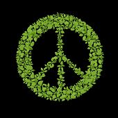 picture of woodstock  - Green plant peace symbol - JPG
