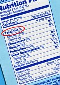 pic of food label  - Nutrition label with total fat content highlighted - JPG