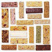 Set Of Granola Bars (muesli Or Cereal Bar) Isolated On White poster