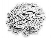 stock photo of poetry  - Large pile of various words placed over white background - JPG