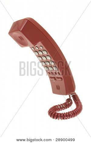 Red telephone isolated on white background