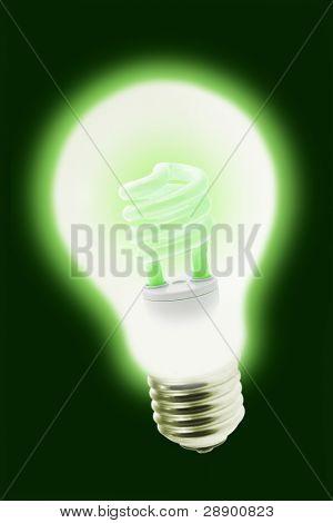 Energy saving electric bulb illuminating inside tungsten light bulb