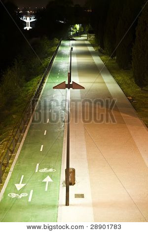 Urban bike trail and footpath at night