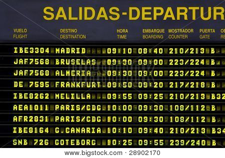 Departure timetable at the airport.