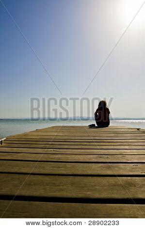 A girl looking far away