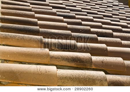 Tile lines in a rustic European roof