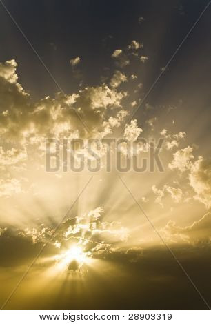 Sun under cloudscape, celestial background
