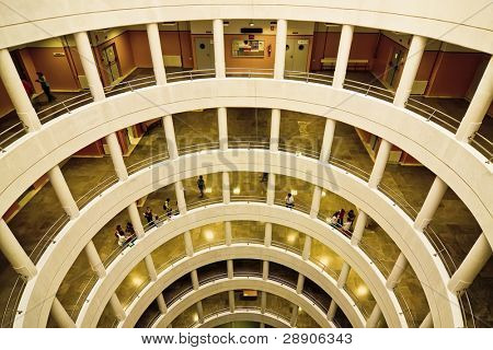Building interior with huge circle hall.