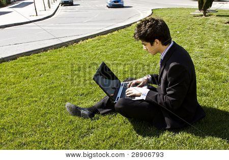 Outdoors working businessman, urban background