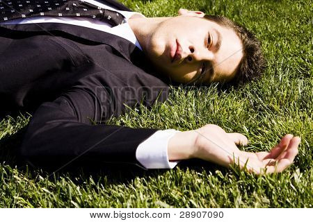 Businessman resting over the grass