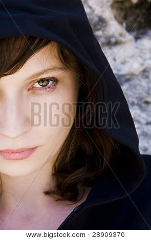 Young woman staring at camera