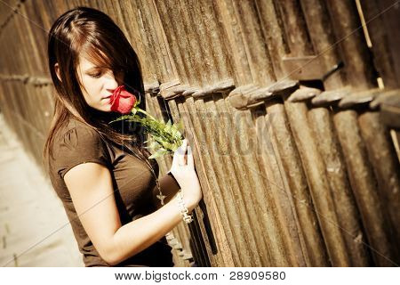 Young woman smelling a red rose over metal fence.