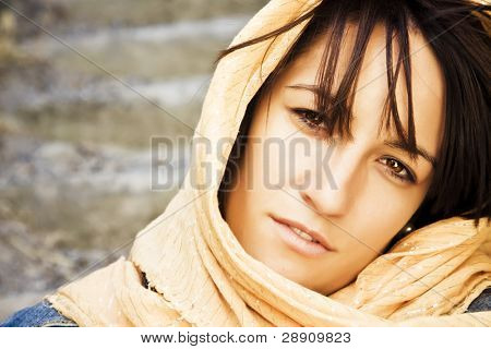 Young woman wearing muslim veil