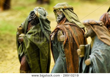 The three wise kings. Focus in the central figurine.