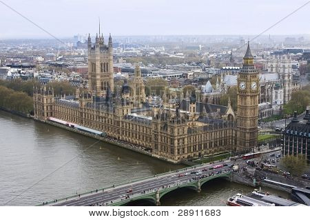 Aerial view of the Big Ben and the Houses of Parliament