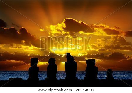 Moai In Easter Island At Sunset