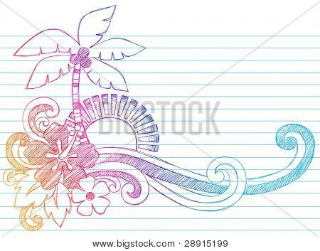 Summer Hibiscus and Palm Tree Tropical Beach Vacation Sketchy Notebook Doodles Vector Illustration on Lined Sketchbook Paper Background