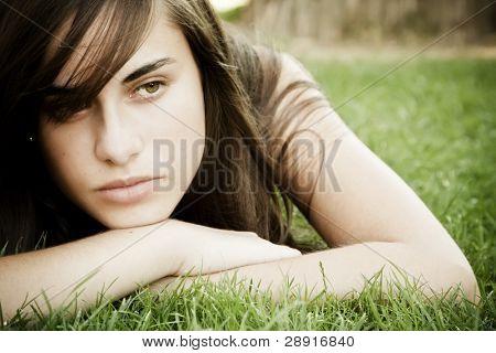 Young pensive woman portrait