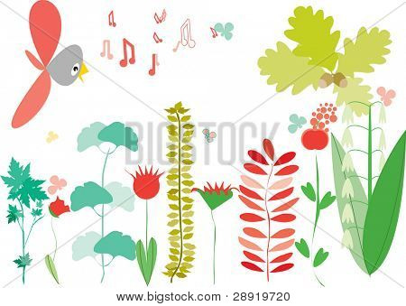 stylized background with bird branches and flowers