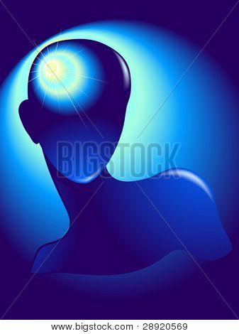 Sunny idea inside of human head